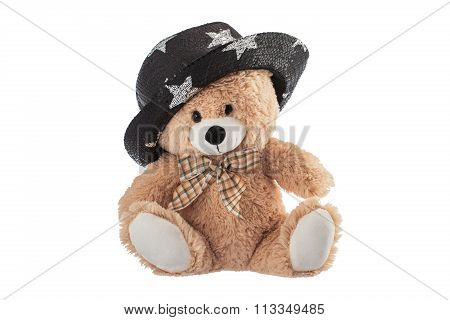 Fluffy Teddy Bear With Party Hat Isolated On A White