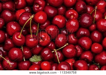 Close-up image of cherries background