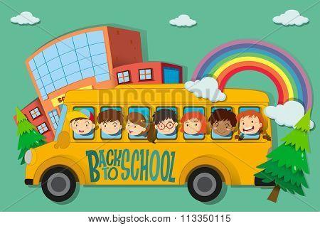Children riding on school bus illustration