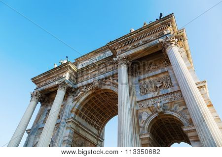 Arco della Pace, the triumphal arc from Milan, Italy, was built between 1807 and 1838, and should first remember of Napoleon and later of the European Peace 1815