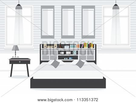 Flat Design Double Bedroom With Furniture.