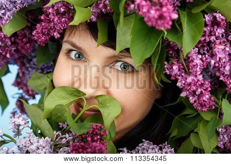 Beautiful Young Model Woman With Lilac Bouquet And Wreath