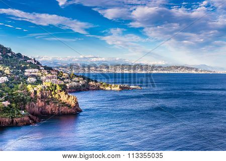 Village On The Red Rocks Of Esterel Massif-france