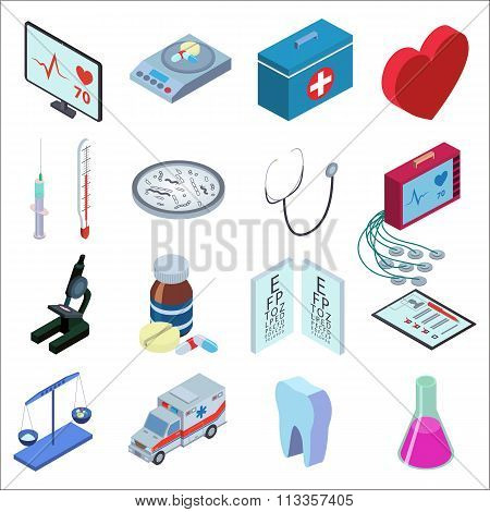 Isometric icons set of medical inspection