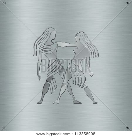 Horoscope Zodiac Sign Gemini In Metal Plate