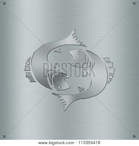 Horoscope Zodiac Sign Pisces In Metal Plate