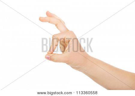 Woman hand gesturing ok sing.