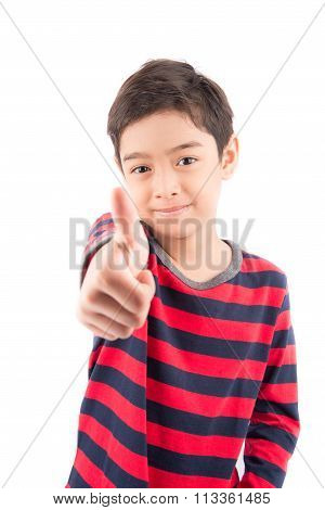 Little boy showing his thumb up on white background