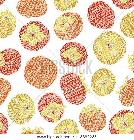 Seamless persimmon pattern. Fruit background.