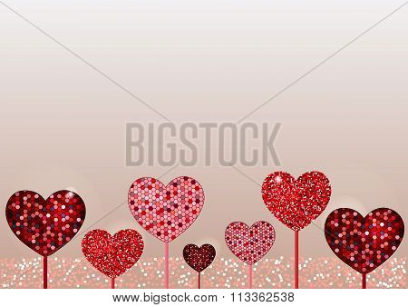 Valentine day background. Mosaic and glitter various heart shaped flowers with place for text