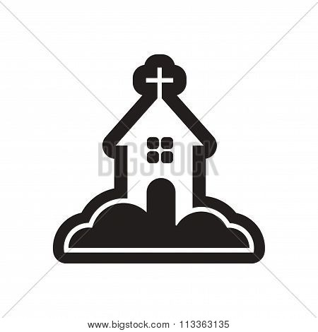 flat icon in black and white church
