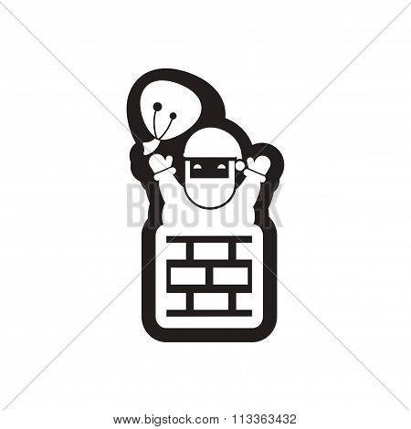 flat icon in black and white santa chimney