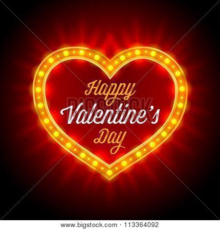 Retro Neon Lights Frame in Heart Shape. Romantic Design for Valentines Day. Vintage inscription Happy Valentines Day. Vector illustration.