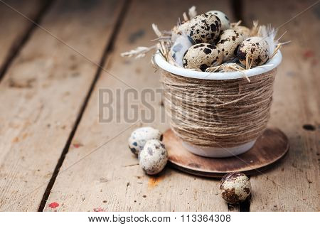 Quail eggs in Easter pot on a wooden rustic table