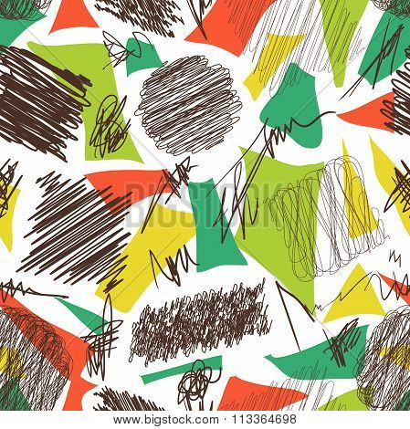 Seamless pattern with scribble brushes. Collection of ink lines, set of hand drawn textures, scribbl