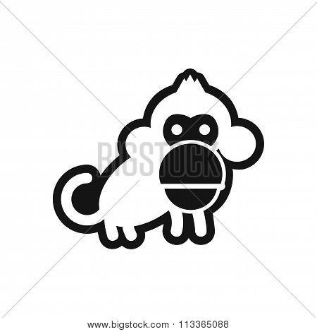 stylish black and white icon small chimpanzee