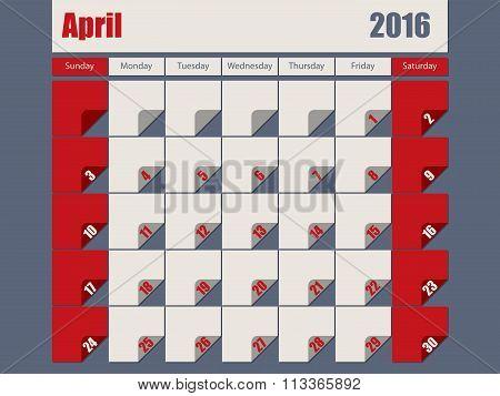 Gray Red Colored 2016 April Calendar