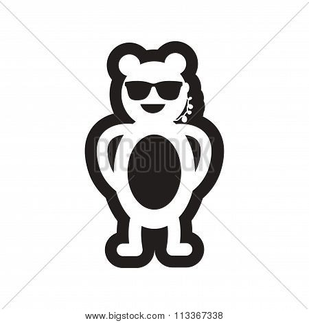 style black and white icon bear security