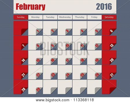 Gray Red Colored 2016 February Calendar