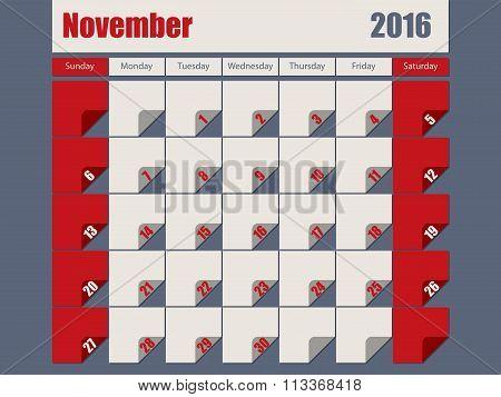 Gray Red Colored 2016 November Calendar