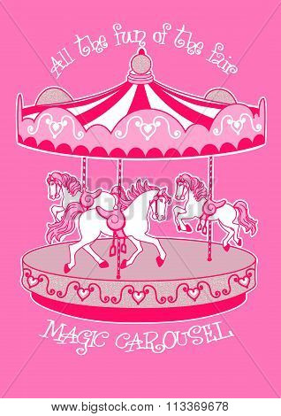 Magic Carousel With White Horses