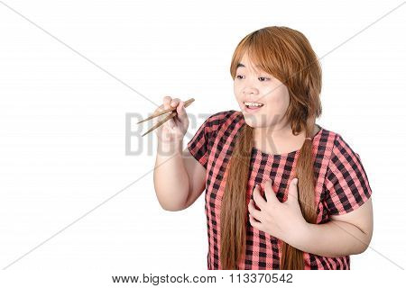 Asian Plump Woman Holding Chopsticks, Isolated On White Background