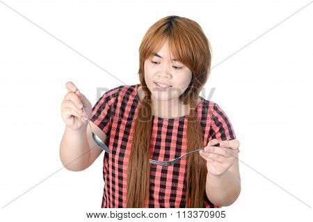 Asian Plump Woman Holding Spoon And Fork, Isolated On White Background