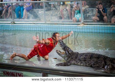 Thailand crocodile show.