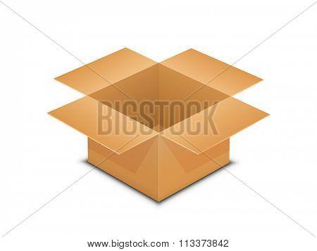 Vector illustration of brown paper open box. Packaging vector illustration