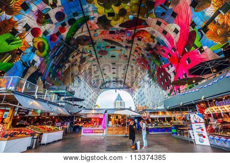 Rotterdam, Netherlands - September 03, 2015: inside the market hall a residential and office building with market hall underneath opened on Oct 1, 2014, by Queen Maxima designed by architects MVRDV