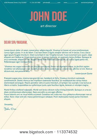Modern Cover Letter Cv Resume In Turquoise Red Colors