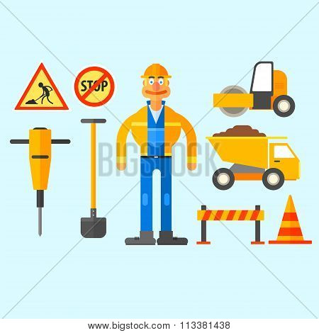 Road Repair Work. Vector Illustration