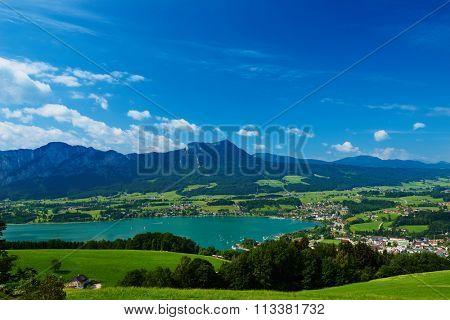 Austrian Mondsee lake landscape in summer