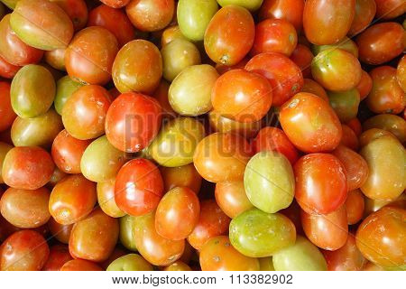 Red Tomatoes At Open Air Market.