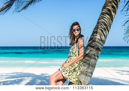 Young Adorable Woman At Tropical Sandy Beach During Caribbean Vacation