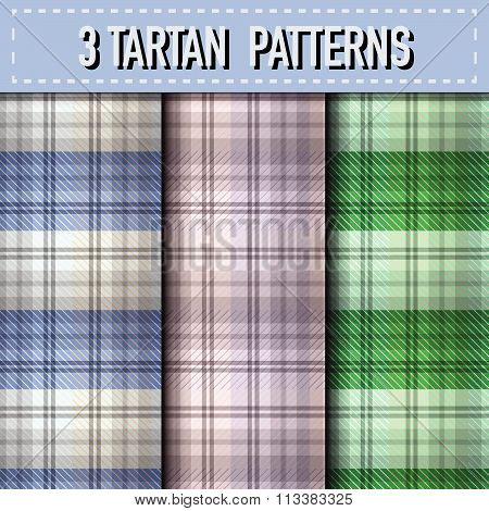 Set Of Three Tartan Plaid Samples In Vector