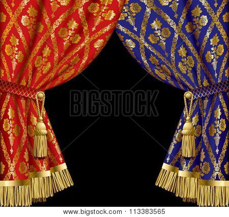 Blue and red drapes with gold vintage ornament on black background
