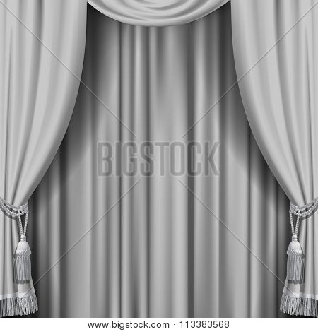 White curtain. Square theater background. Artistic poster