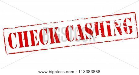 Rubber stamp with text check cashing inside vector illustration