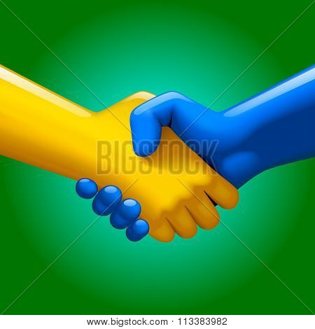 Handshake of blue and yellow artificial hands on green background. Symbol and metaphor of business partnership and high technology.