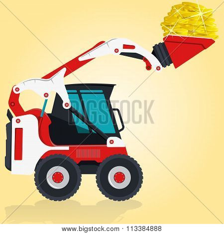 Red and white small digger loads golden coins.
