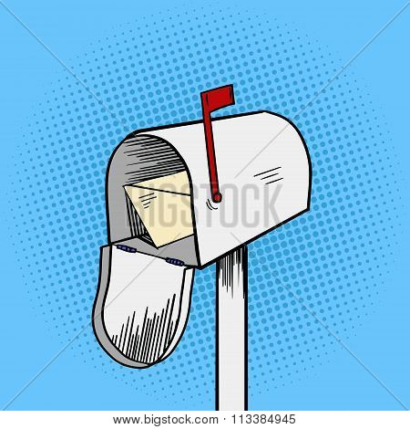 Mail box pop art style vector illustration