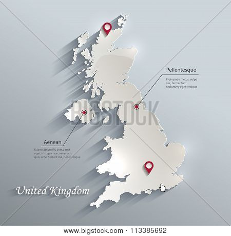 United Kingdom Map Blue White Card Paper 3D Vector