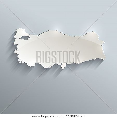 Turkey Map Blue White Card Paper 3D Raster