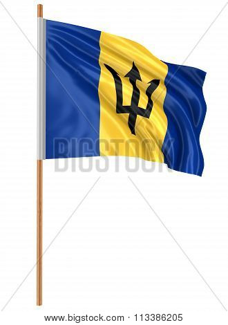 3D Barbados flag with fabric surface texture. White background. Image with clipping path