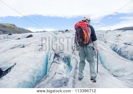 GLACIER, ICELAND - June 19: Solheimajokull Glacier tour in Iceland on June 19, 2015.