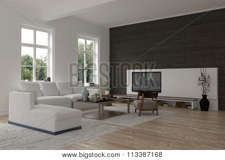 Spacious modern living room interior with a black accent wall, windows, TV and comfortable upholstered lounge suite, spacious and bright. 3d Rendering.