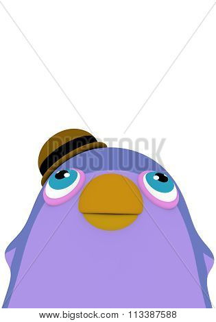 Funny Cartoon Penguin Bird With A Hat