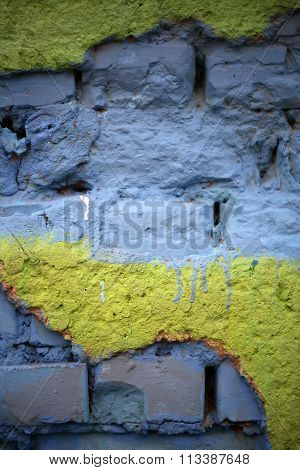 Blue Yellow Brick Background