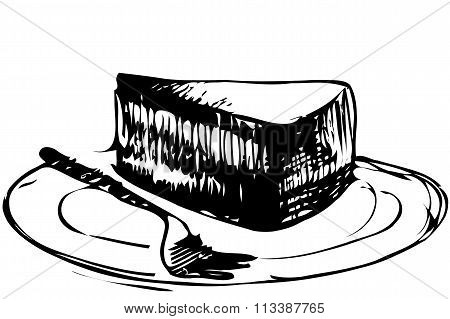 Sketch Dessert Piece Of Cake On A Plate